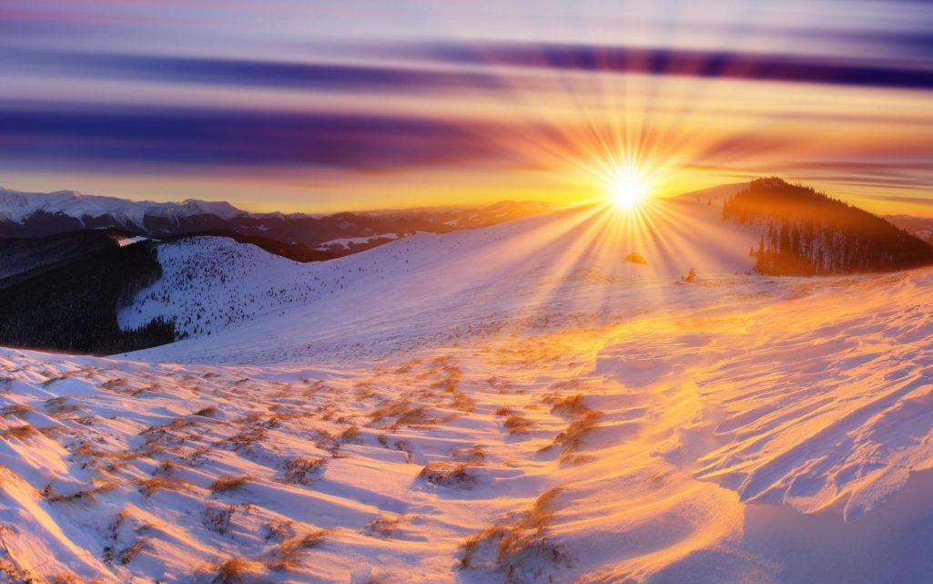 Lever du soleil en hiver