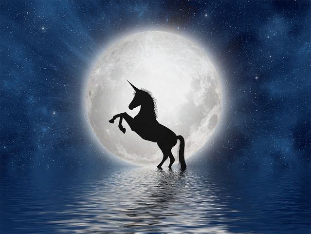 La licorne sous la pleine lune