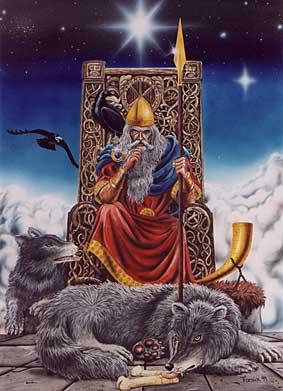 Wotan siégeant à Asgard